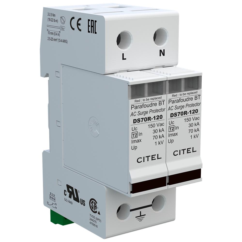 Citel Ac Surge Protector 120 240 Vac Din Rail The Solar Supermarket Voltage Circuit Ds72rs